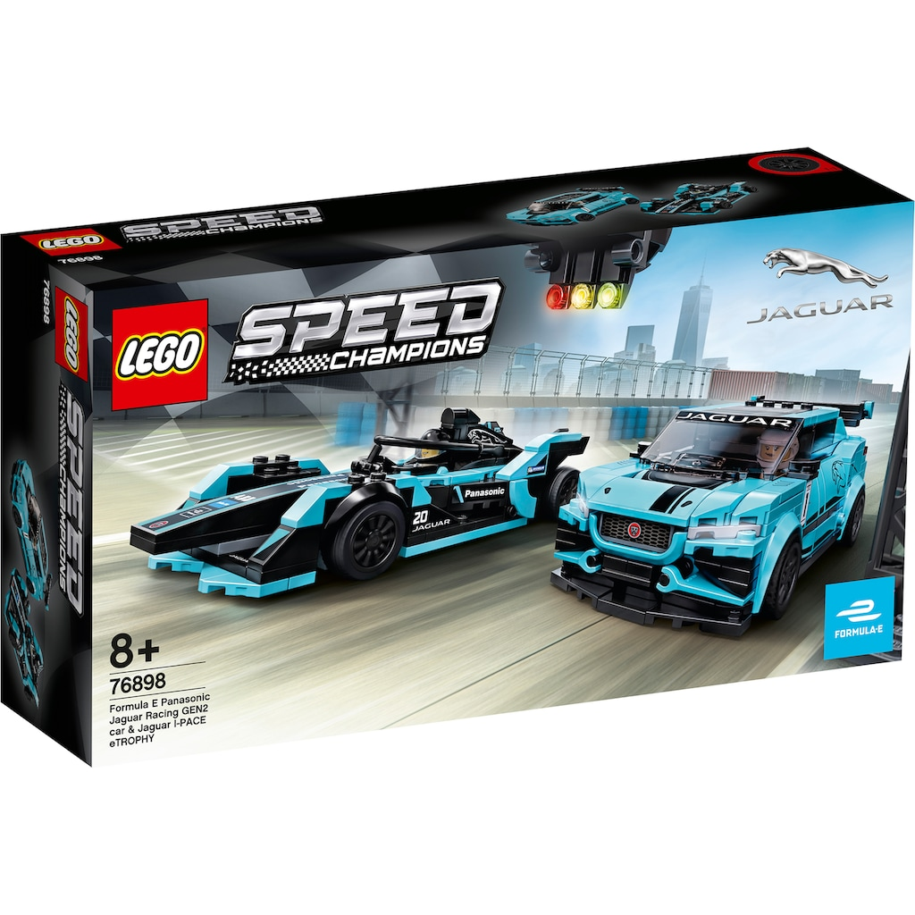 LEGO® Konstruktionsspielsteine »Formula E Panasonic Jaguar Racing GEN2 car & Jaguar I-PACE eTROPHY (76898), LEGO® Speed Champions«, (565 St.), Made in Europe