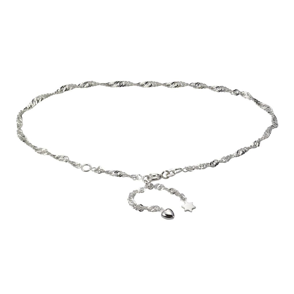 Vivance Fußkette »925/- Sterling Silber rhod. Herz + Stern«, mit Geschenketui