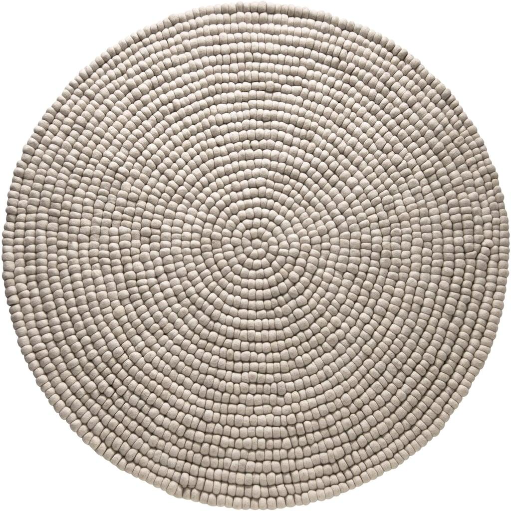 Home affaire Wollteppich »Maja«, rund, 22 mm Höhe, Filzkugel-Teppich