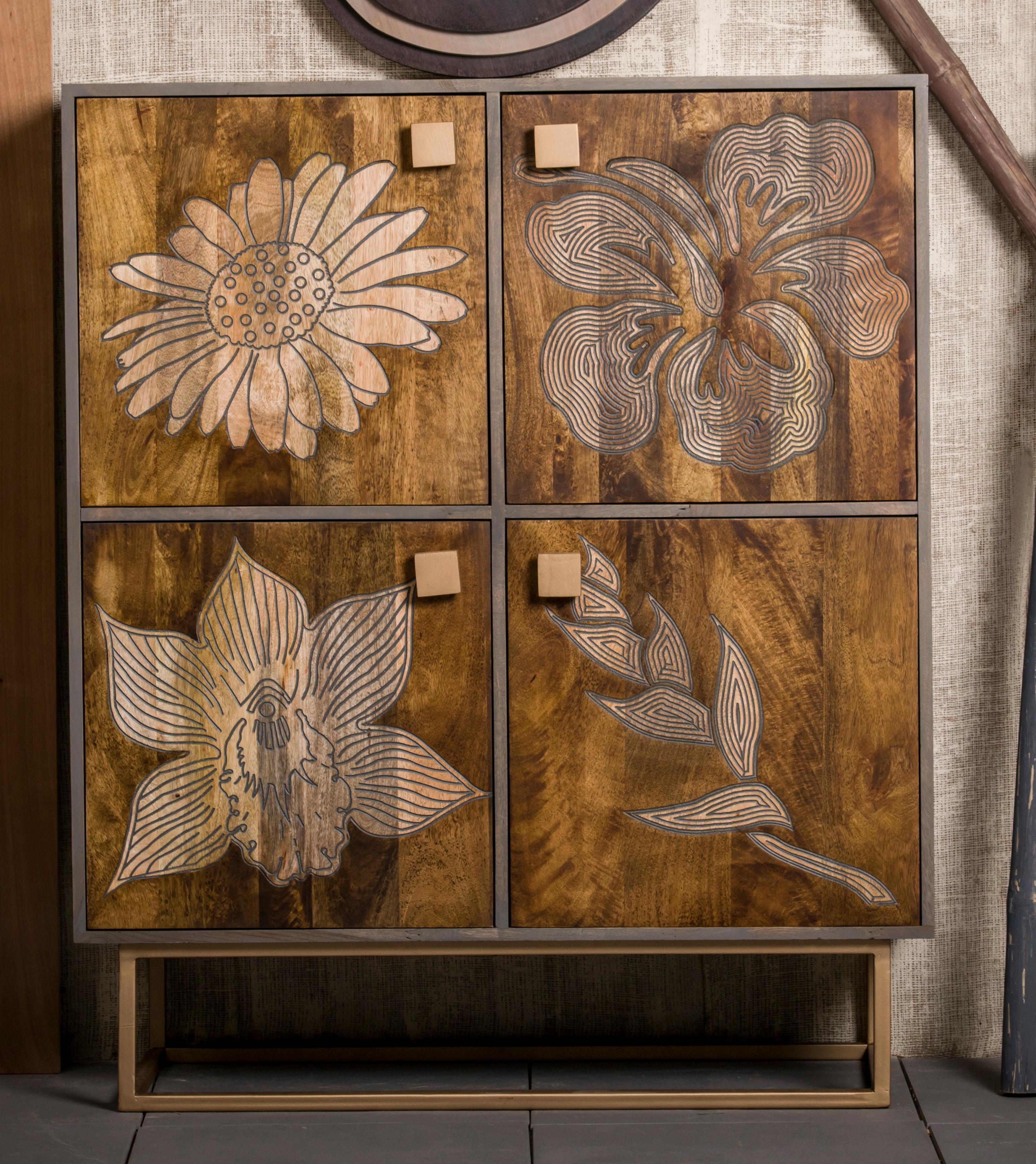 Home Affaire Schrank Othello aus massivem Mangoholz mit sehr schöne Blumenmotiv Höhe 120 cm