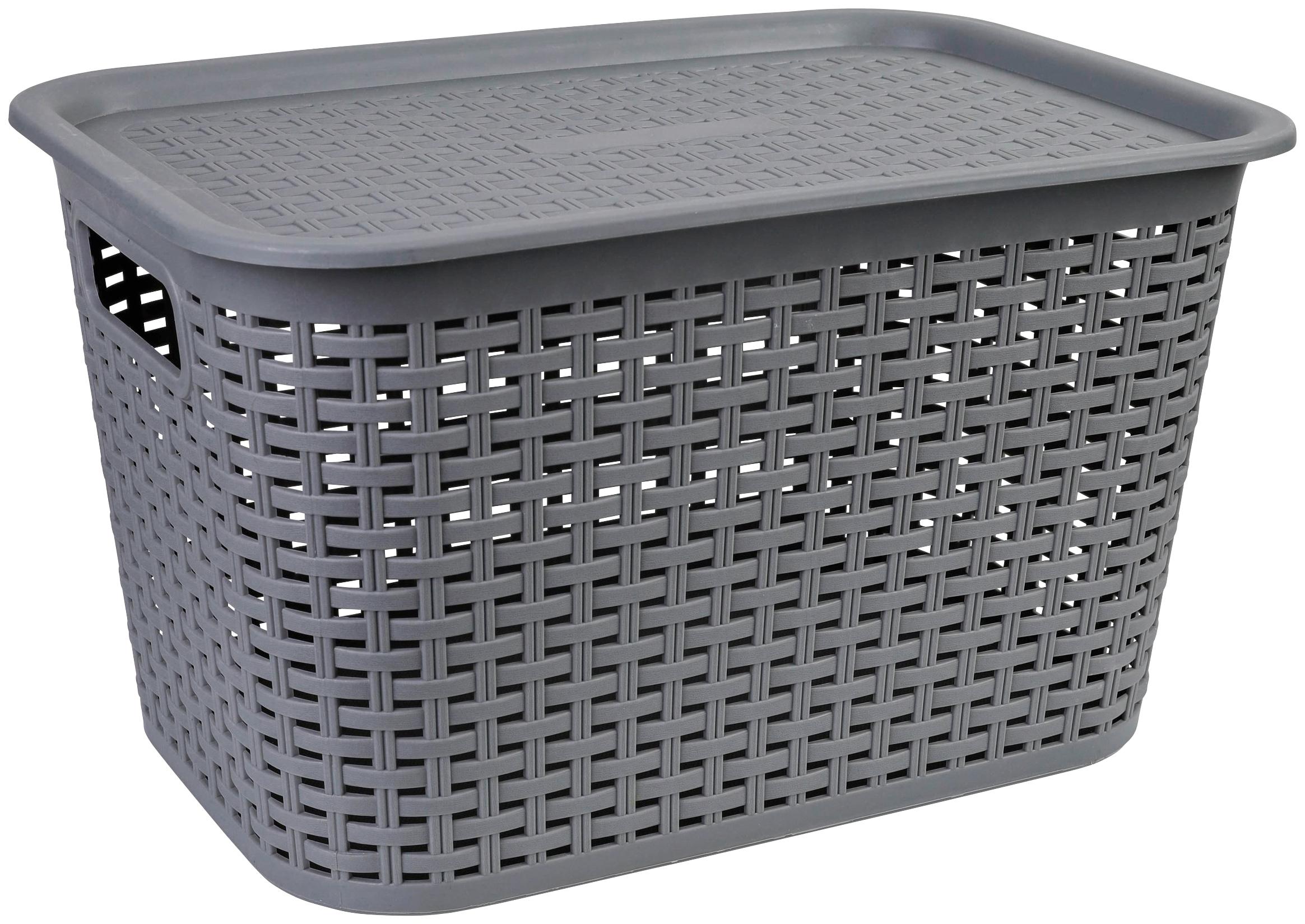 axentia Aufbewahrungskorb Korb aus Kunststoff, groß, mit Deckel grau Bad Sanitär