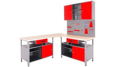 ONDIS24 Werkstatt-Set, mit 2 Werkbänken, Werkzeugschrank & Lochwand kaufen