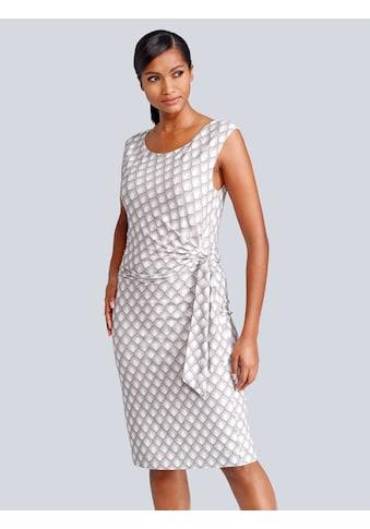 Alba Moda Kleid mit femininer Raffung und Bindeband vorne kaufen