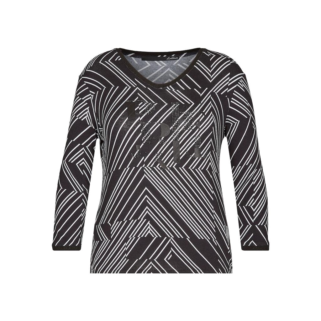 LeComte V-Shirt, mit Streifenmuster und Ziersteinchen
