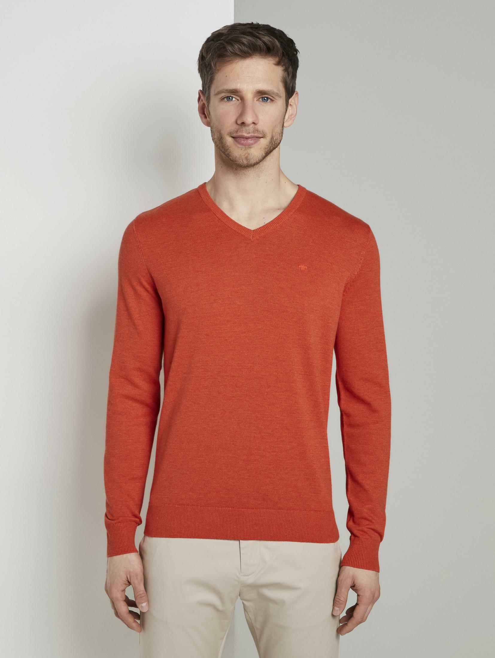 tom tailor -  V-Ausschnitt-Pullover Strickpullover mit V-Ausschnitt