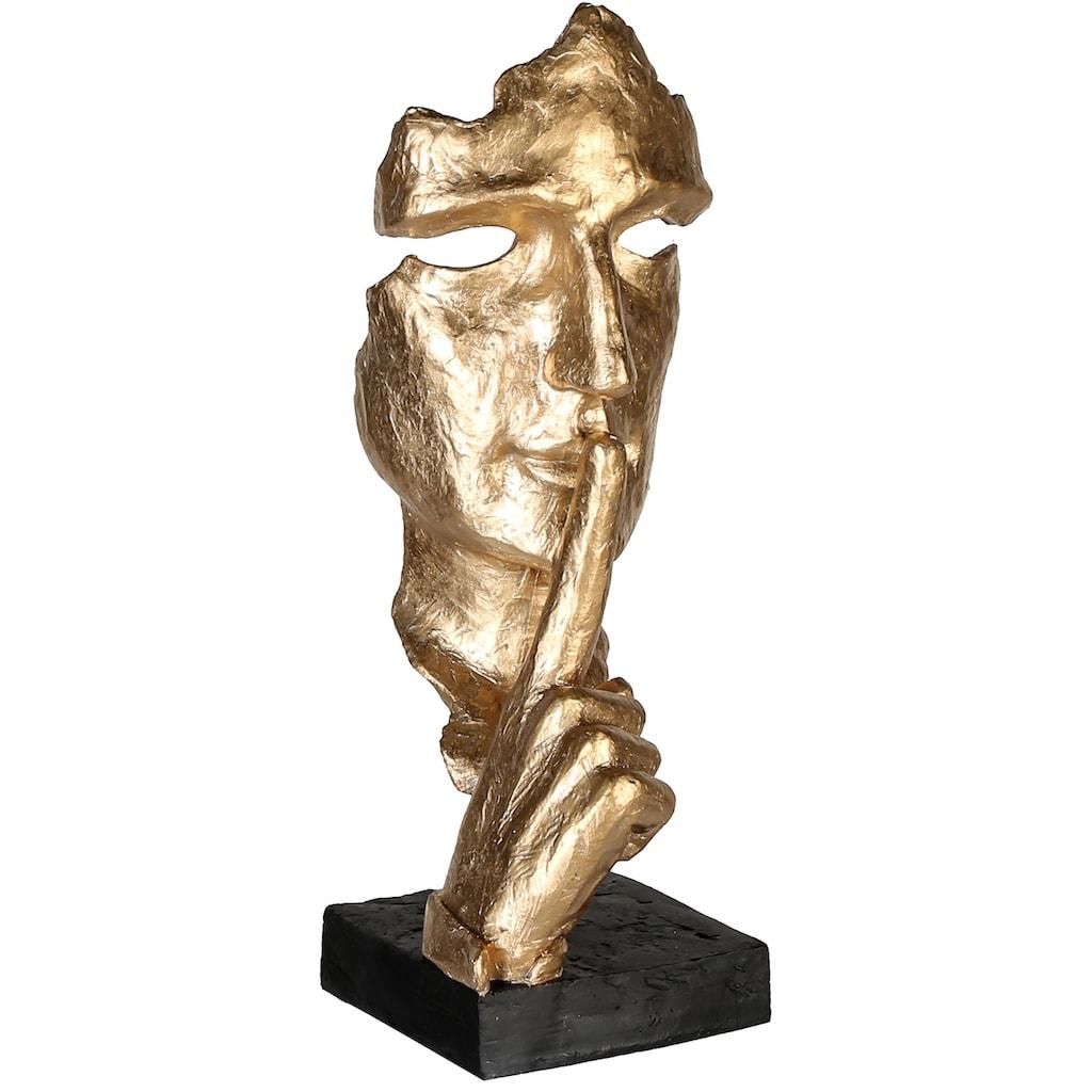 Casablanca by Gilde Dekofigur »Skulptur Silence, goldfarben/schwarz«, Dekoobjekt, Höhe 39, mit Spruchanhänger, Wohnzimmer