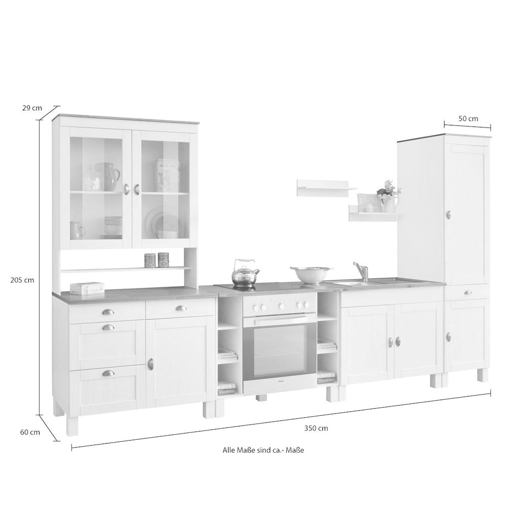 Home affaire Küchen-Set »Oslo«, (7 tlg.), ohne E-Geräte, Breite 350 cm, aus massiver Kiefer, 23 mm starke Arbeitsplatte, mit Metallgriffen, Landhaus-Küche, in 2 Tiefen erhältlich