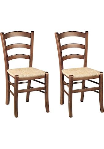 Home affaire 4-Fußstuhl »Super Paesana«, aus Massivholz Buche mit Sitz aus Grasgeflecht, im 2er-Set kaufen