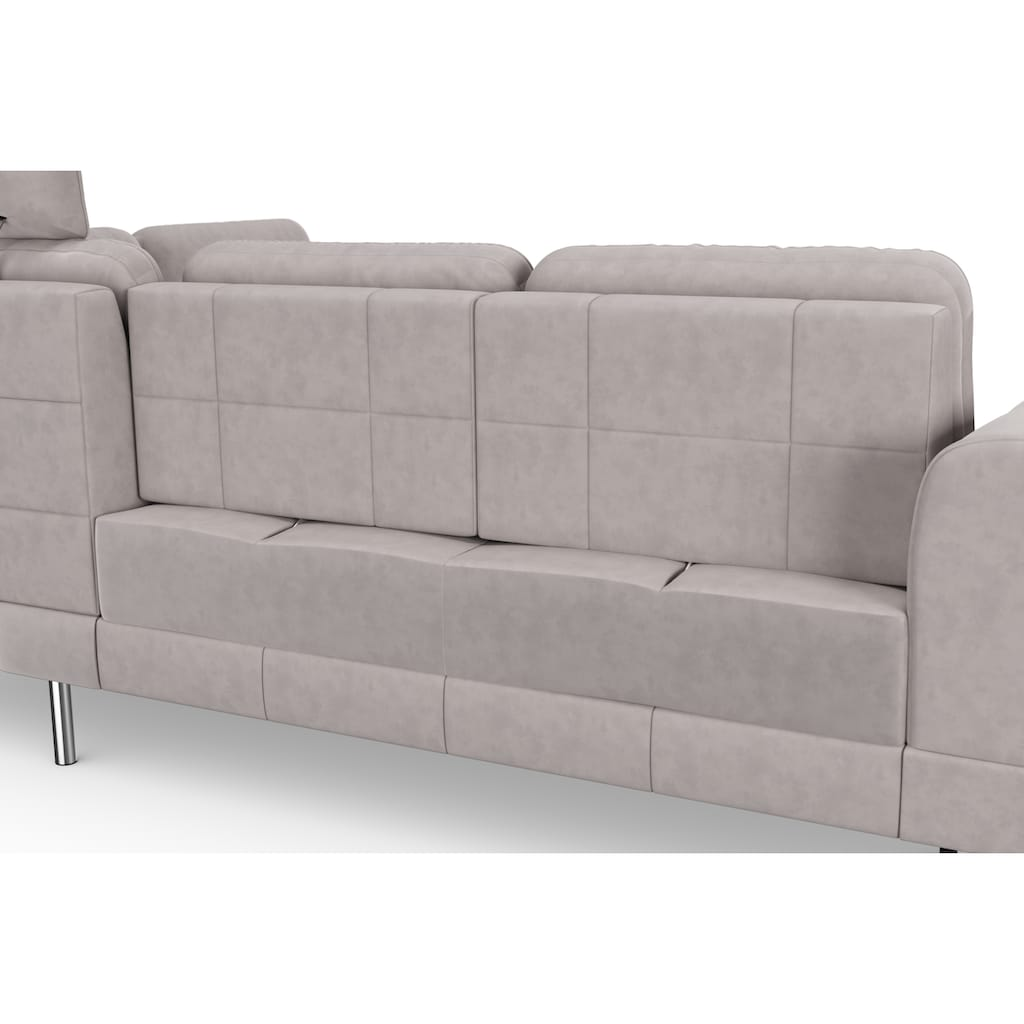 sit&more Ecksofa »Bendigo V«, inklusive Sitztiefenverstellung, Bodenfreiheit 15 cm, wahlweise in 2 unterschiedlichen Fußfarben