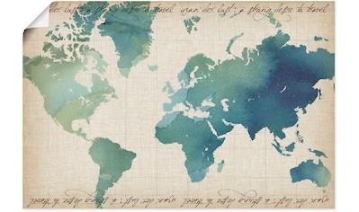 Artland Wandbild »Wasserfarben Weltkarte« kaufen