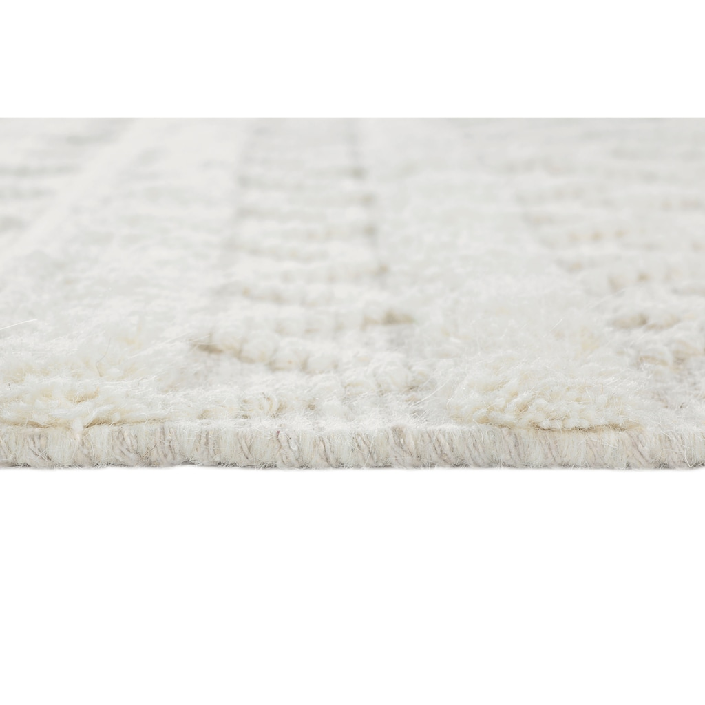 LUXOR living Wollteppich »Hägga«, rechteckig, 15 mm Höhe, reine Wolle, handgewebt, Hoch-Tief Struktur, Wohnzimmer