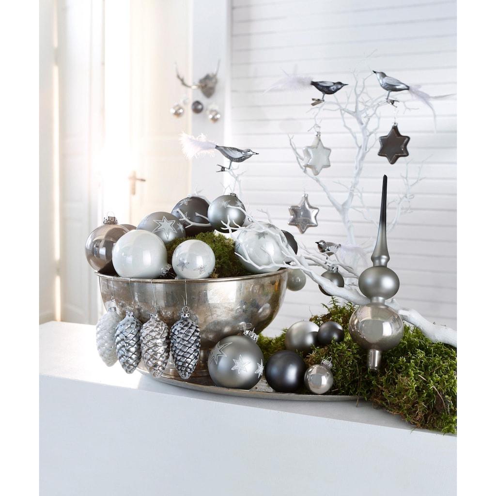 Thüringer Glasdesign Weihnachtsbaumkugel »Chrome«, (Set, 40 St.)