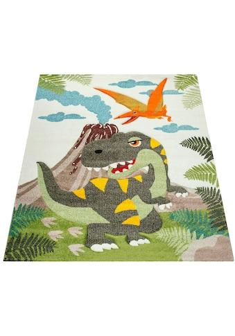 Paco Home Kinderteppich »Diamond 636«, rechteckig, 18 mm Höhe, 3D-Kinder Design, Dinosaurier Motiv kaufen