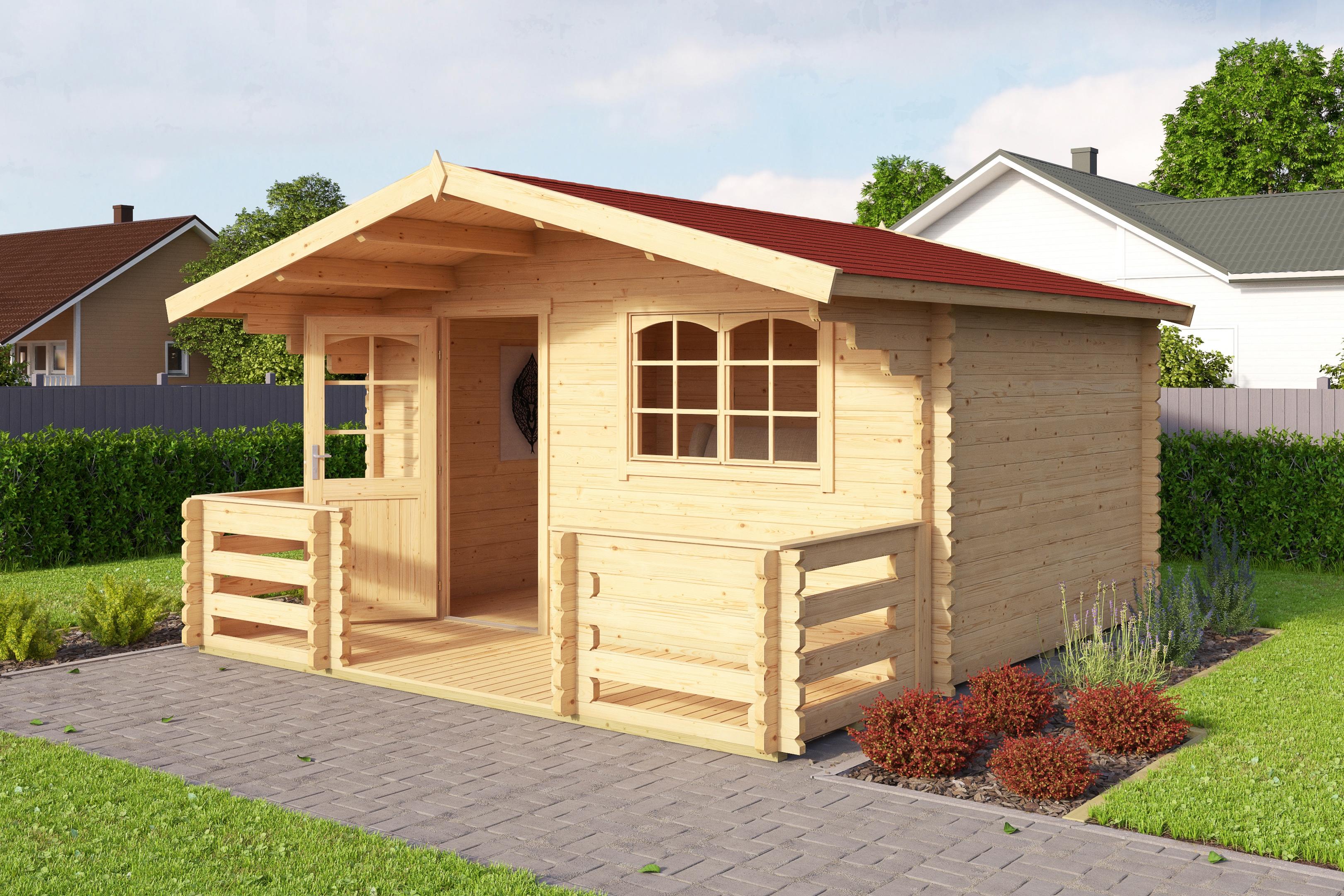 OUTDOOR LIFE PRODUCTS Set: Gartenhaus »Valga 28«, BxT: 400x430 cm, inkl.  Terrasse, Fußboden und Dachschindeln kaufen | BAUR