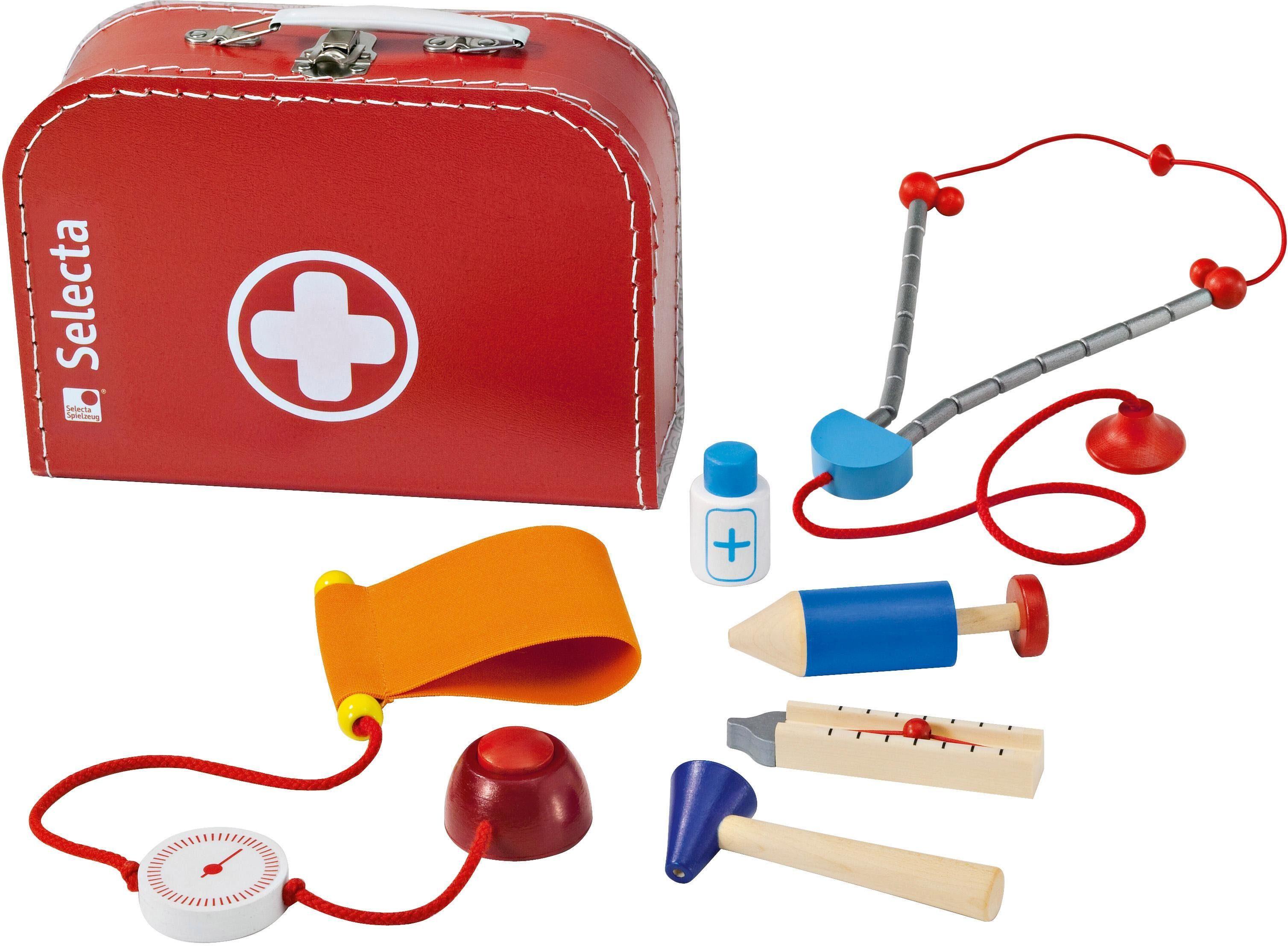 Selecta Spielzeug-Arztkoffer, Made in Germany rot Kinder Verkleidung Kostüme Spielzeug-Arztkoffer