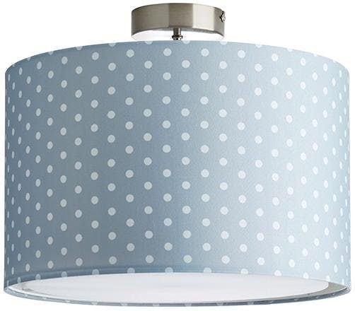 Lüttenhütt Deckenleuchte Prick, E27, Deckenlampe mit Punkte - Stoffschirm Ø 40 cm, grau / weiß gepunktet, Höhe 32 cm