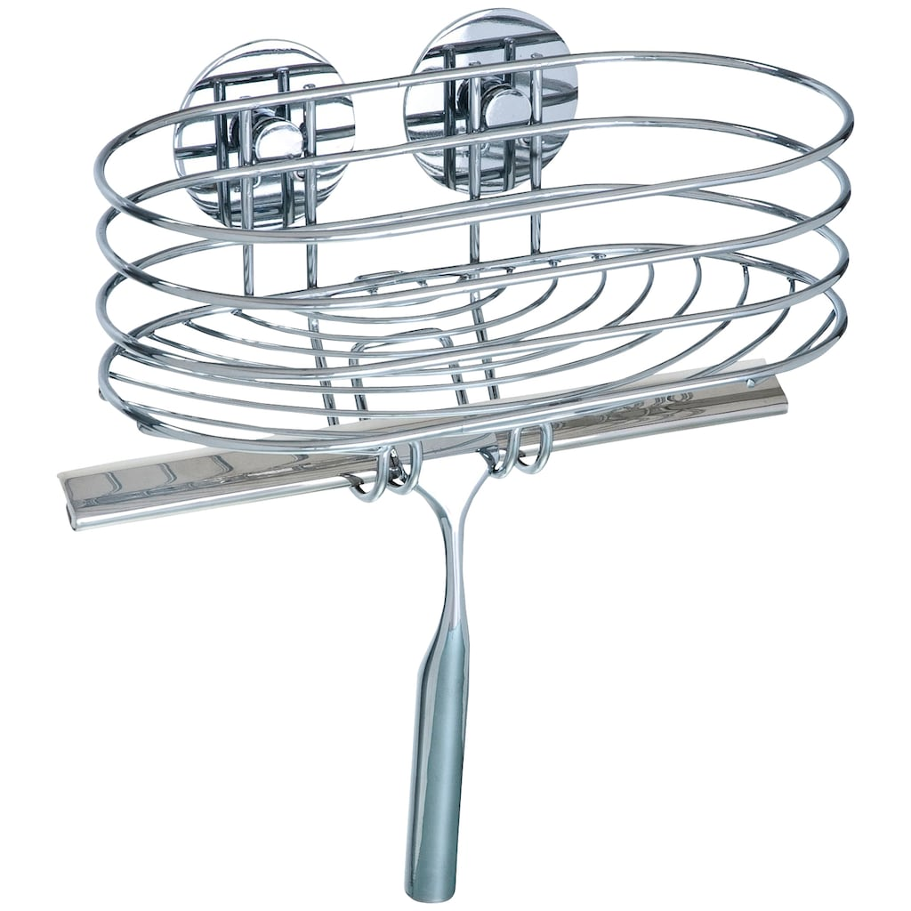 WENKO Duschablage »Turbo-Loc«, inklusive Duschabzieher, Befestigen ohne bohren