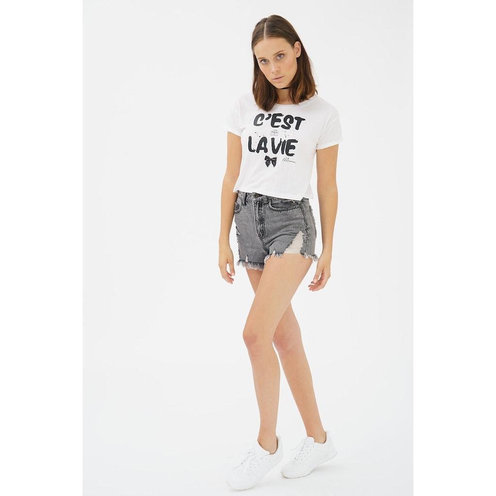 trueprodigy T-Shirt »Lille«, Crop mit Statement-Print