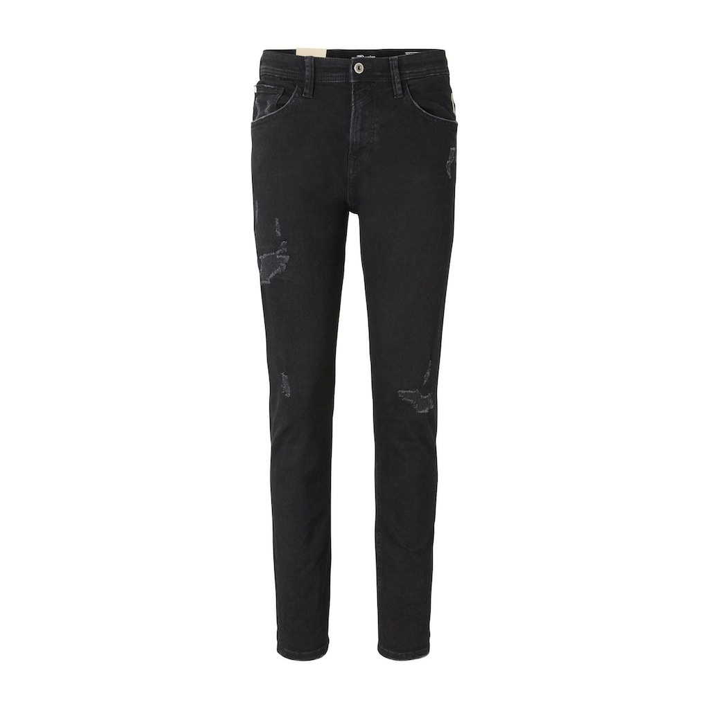 TOM TAILOR Denim Tapered-fit-Jeans »Tapered Conroy Stretch Jeans mit Destroys«