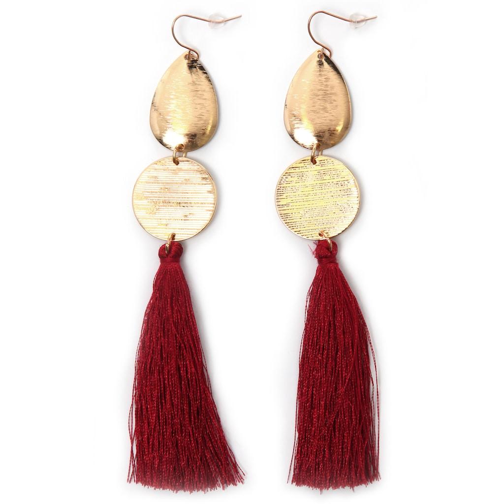 J.Jayz Paar Ohrhaken »rote lange Quasten, vergoldet«