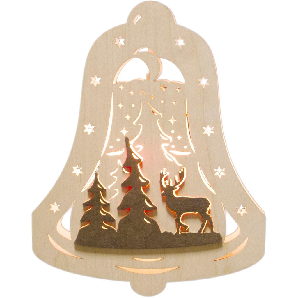 Weigla Beleuchtetes Fensterbild »Waldmotiv«, Motiv eingerahmt in Glocke