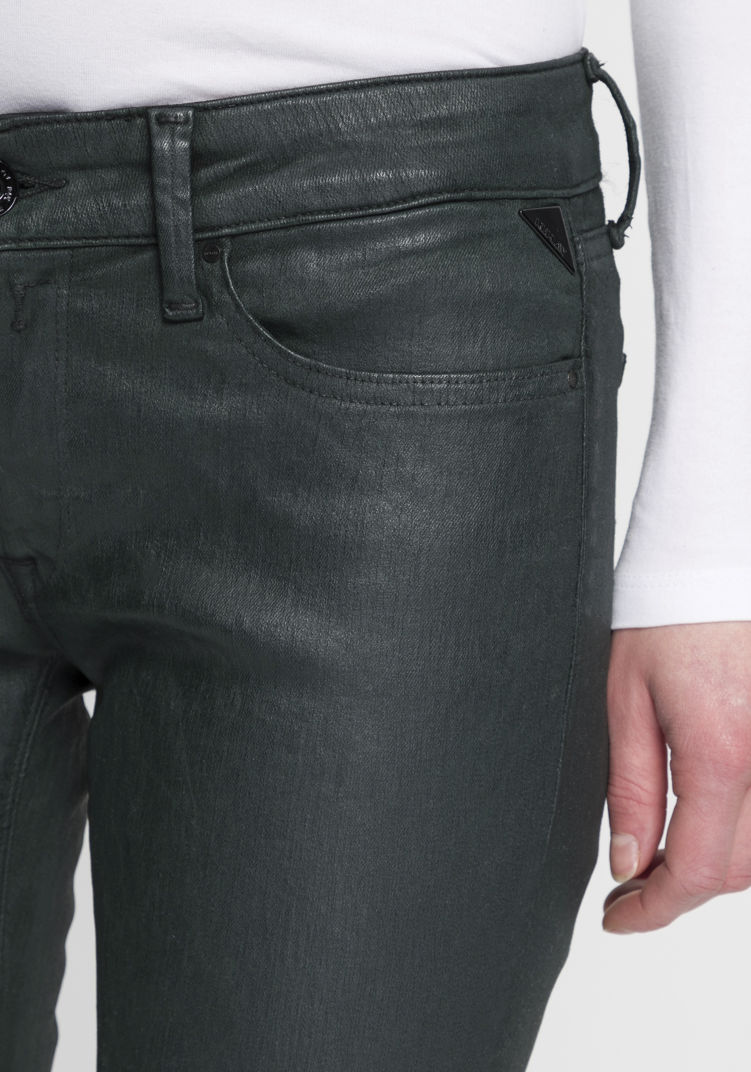 replay -  Skinny-fit-Jeans New Luz, coated Look mit leichtem Glanz