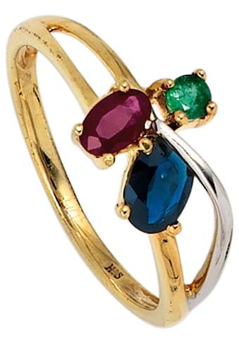 JOBO Goldring, 585 Gold bicolor mit Rubin Safir Smaragd kaufen