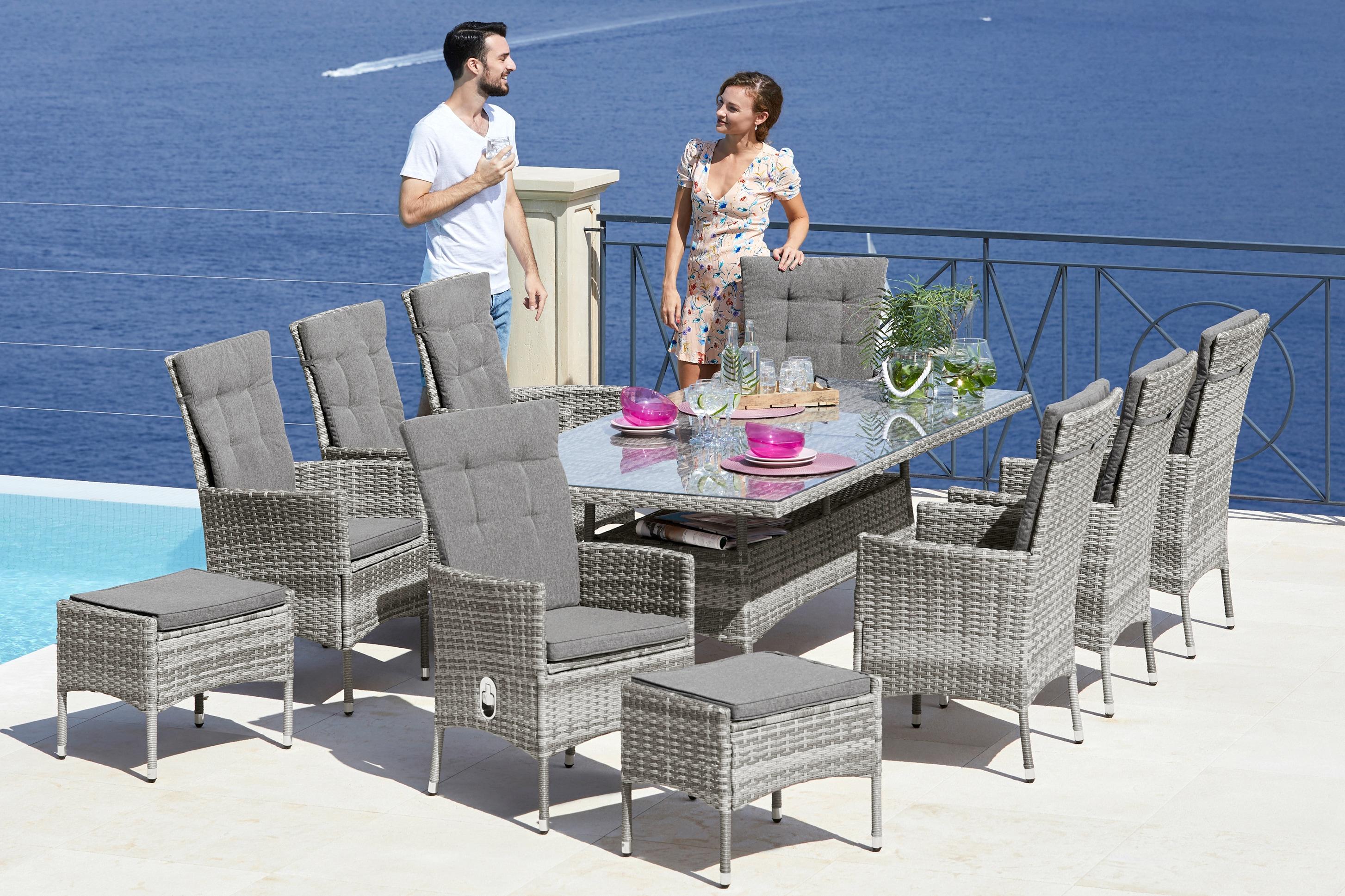 KONIFERA Gartenmöbelset Belluno 17-tlg 8 Sessel Tisch 200x100 cm Polyrattan