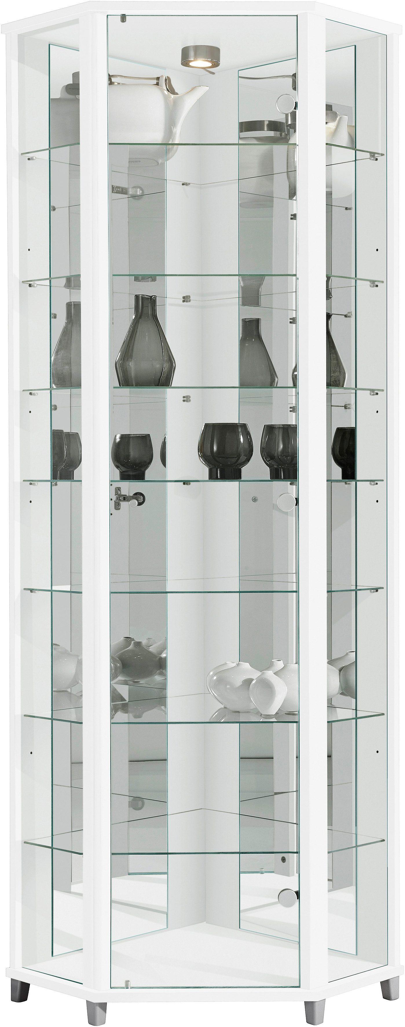 Eckvitrine Höhe 172 cm 7 Glasböden | Wohnzimmer > Vitrinen > Eckvitrinen | Weiß | Melamin