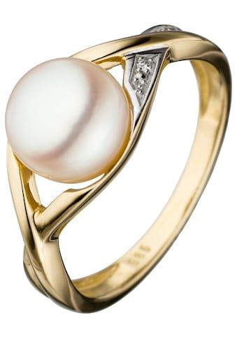 JOBO Perlenring, 585 Gold bicolor mit Süßwasser-Zuchtperle und Diamant kaufen