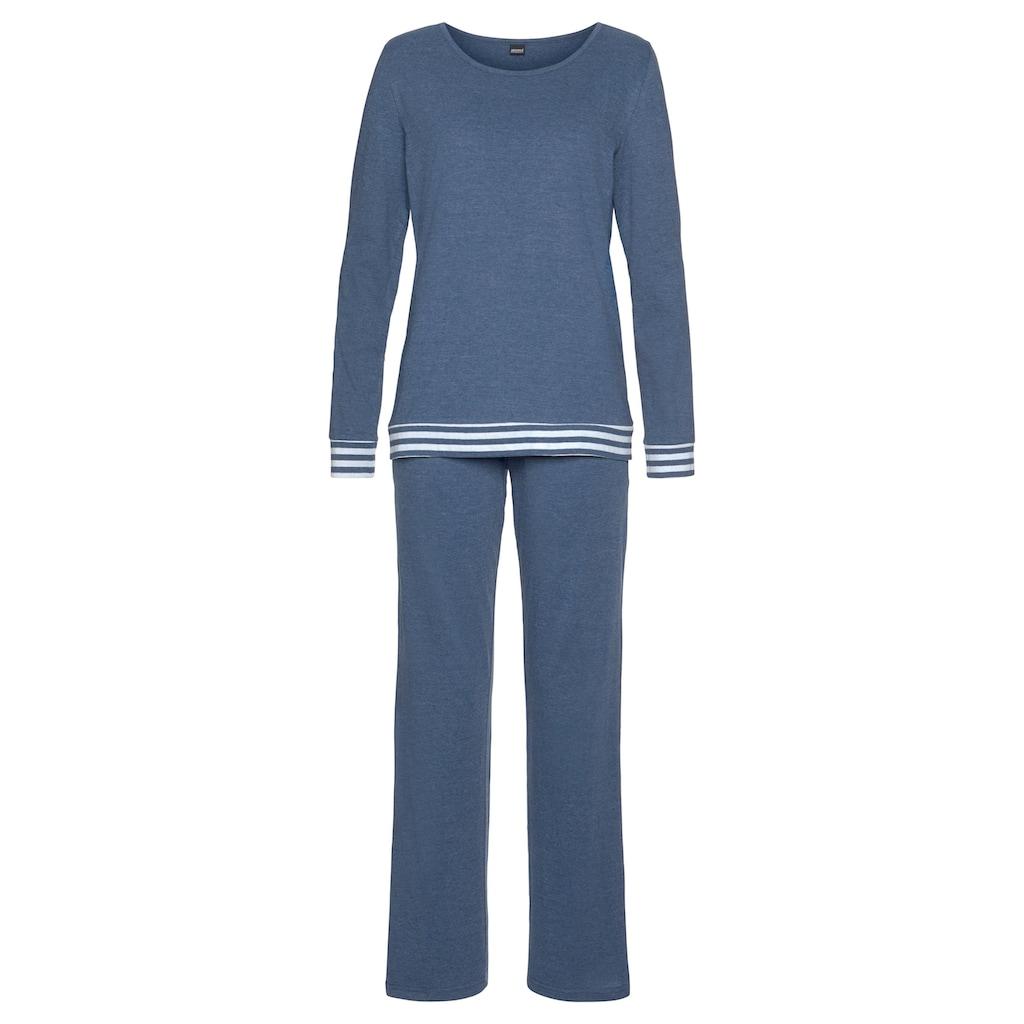Arizona Pyjama, mit gestreiften Bündchen