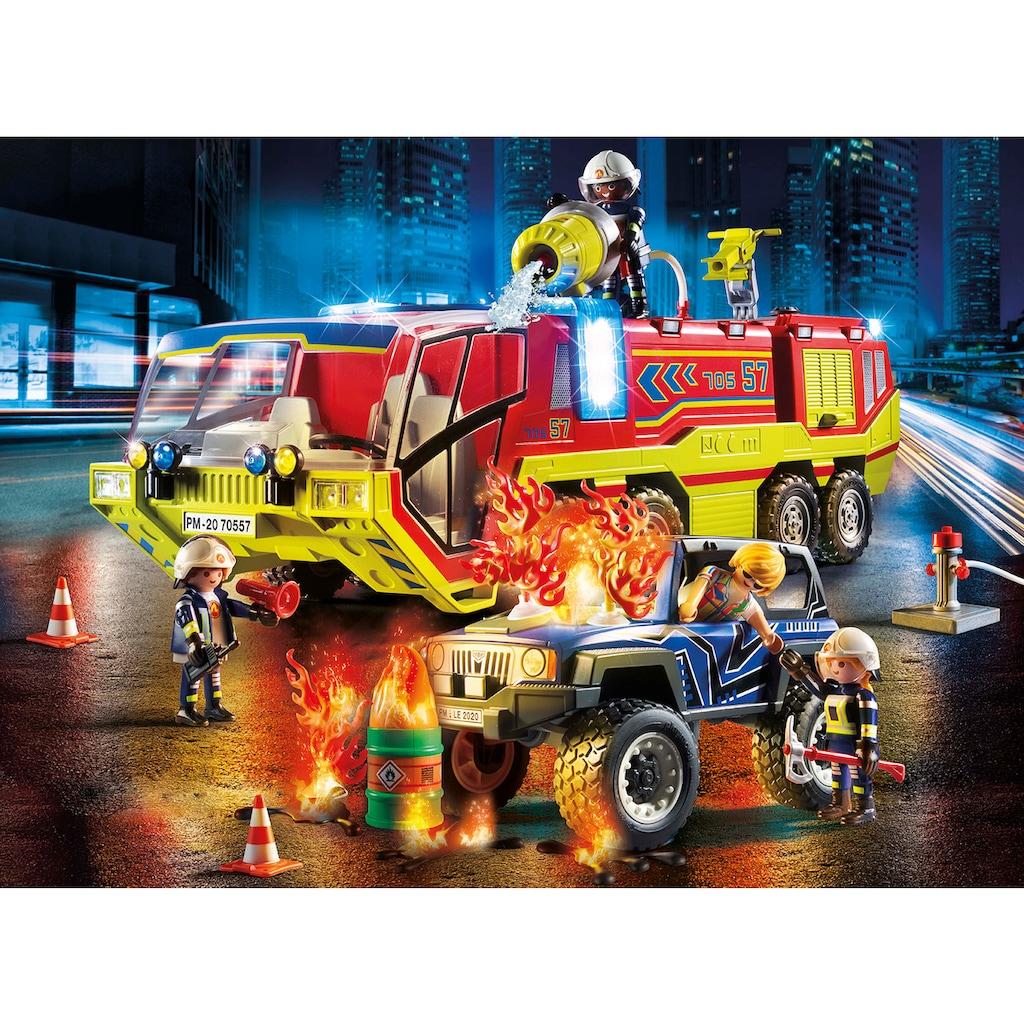 Playmobil® Konstruktions-Spielset »Feuerwehreinsatz mit Löschfahrzeug (70557), City Action«, (189 St.), mit Licht- und Soundfunktion