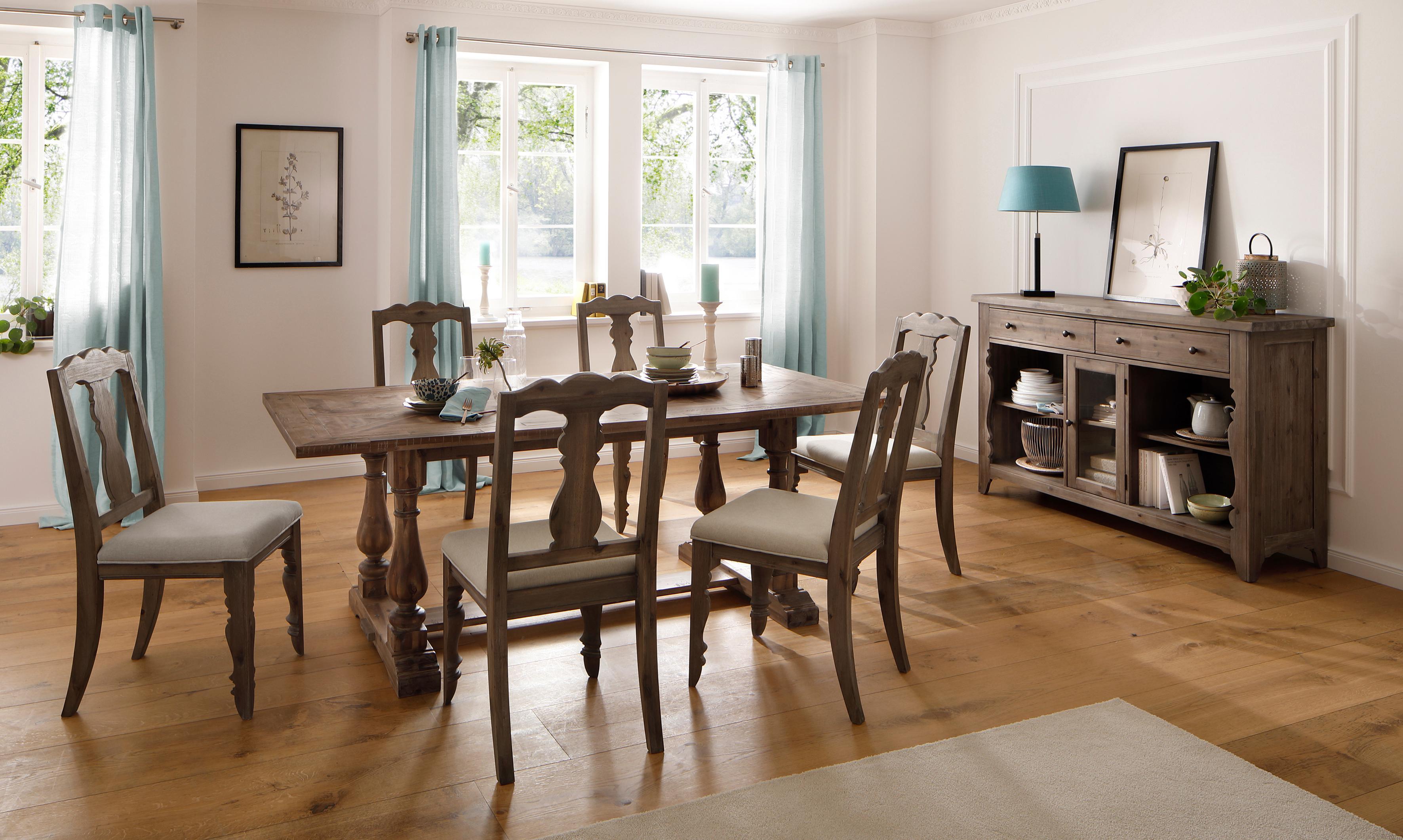 Home affaire Sideboard Magnolia im rustikalem Flair aus massivem Akazienholz