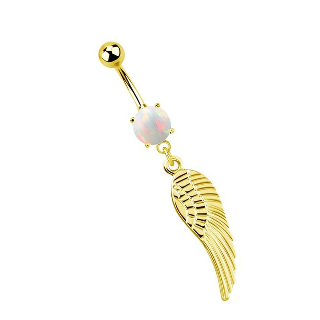 Adelia´s Bauchnabelpiercing »Bauchnabelpiercing«, Banane mit syntetischem Opal und Anhänger mit einem Flügel