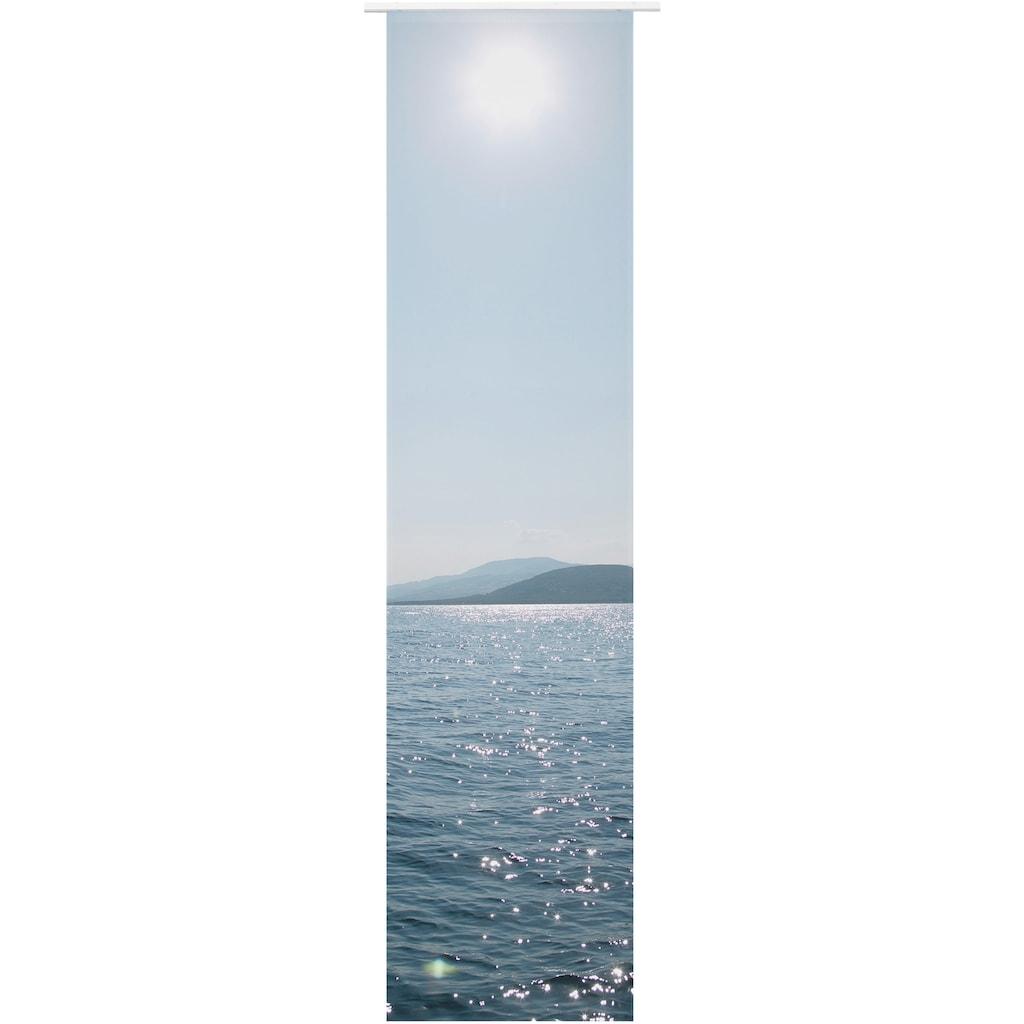 ELBERSDRUCKE Schiebegardine »Ocean«, Schiebevorhang mit Klettband Ocean 01 blau 245x60 cm halbtransparent Digitaldruck