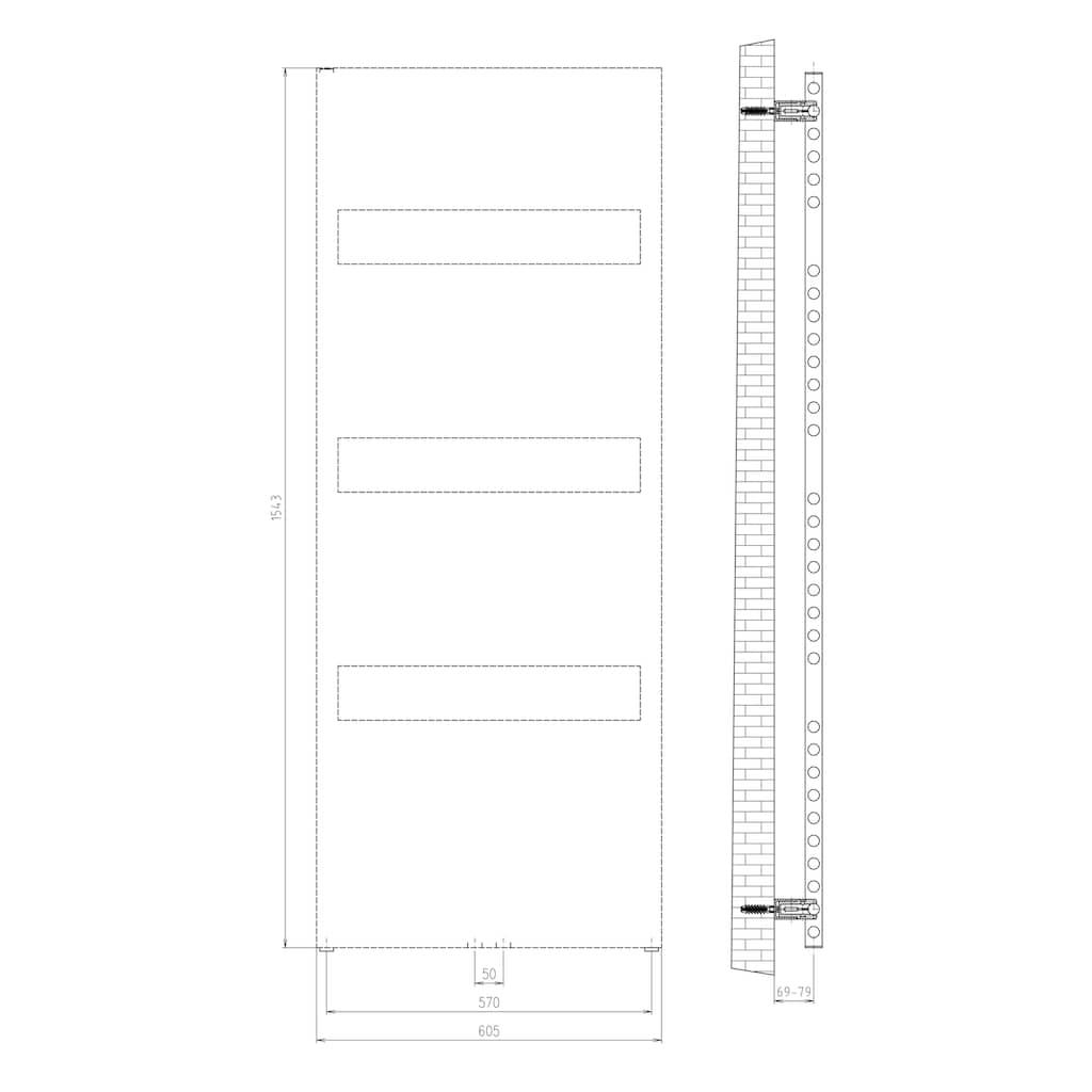 Schulte Badheizkörper »Turin«, für Badezimmer mit Blende und Mittenanschluss
