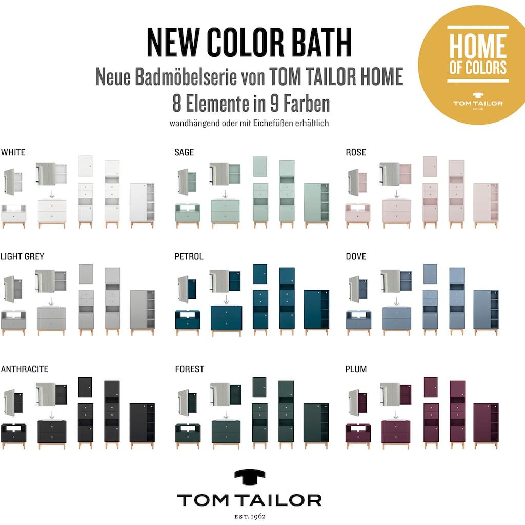 TOM TAILOR Unterschrank »COLOR BATH«, mit 1 Tür & 2 Schubladen, mit Push-to-Open, mit Füßen in Eiche geölt, Breite 40 cm