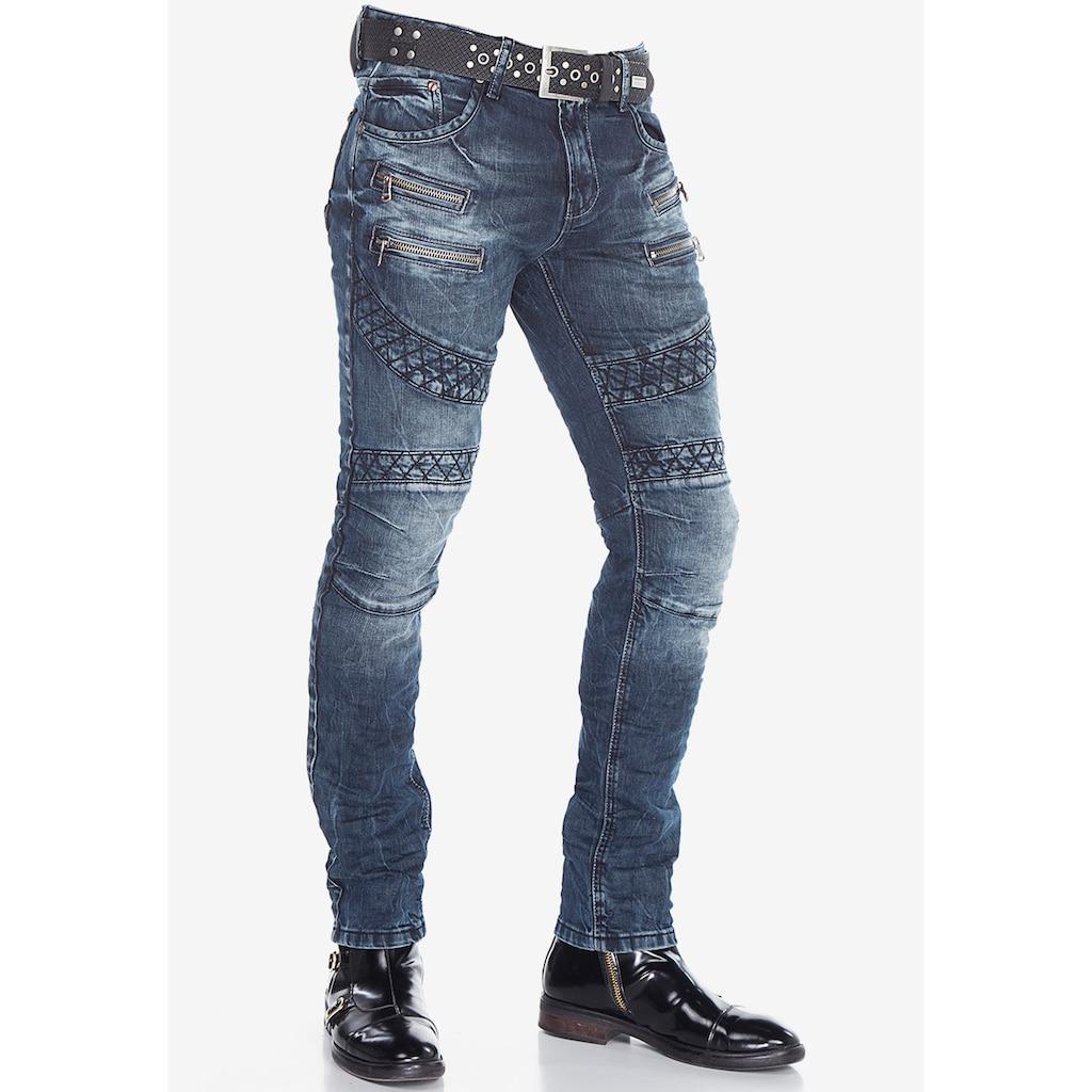 Cipo & Baxx Slim-fit-Jeans, im modischen Bikerstil in Straight Fit