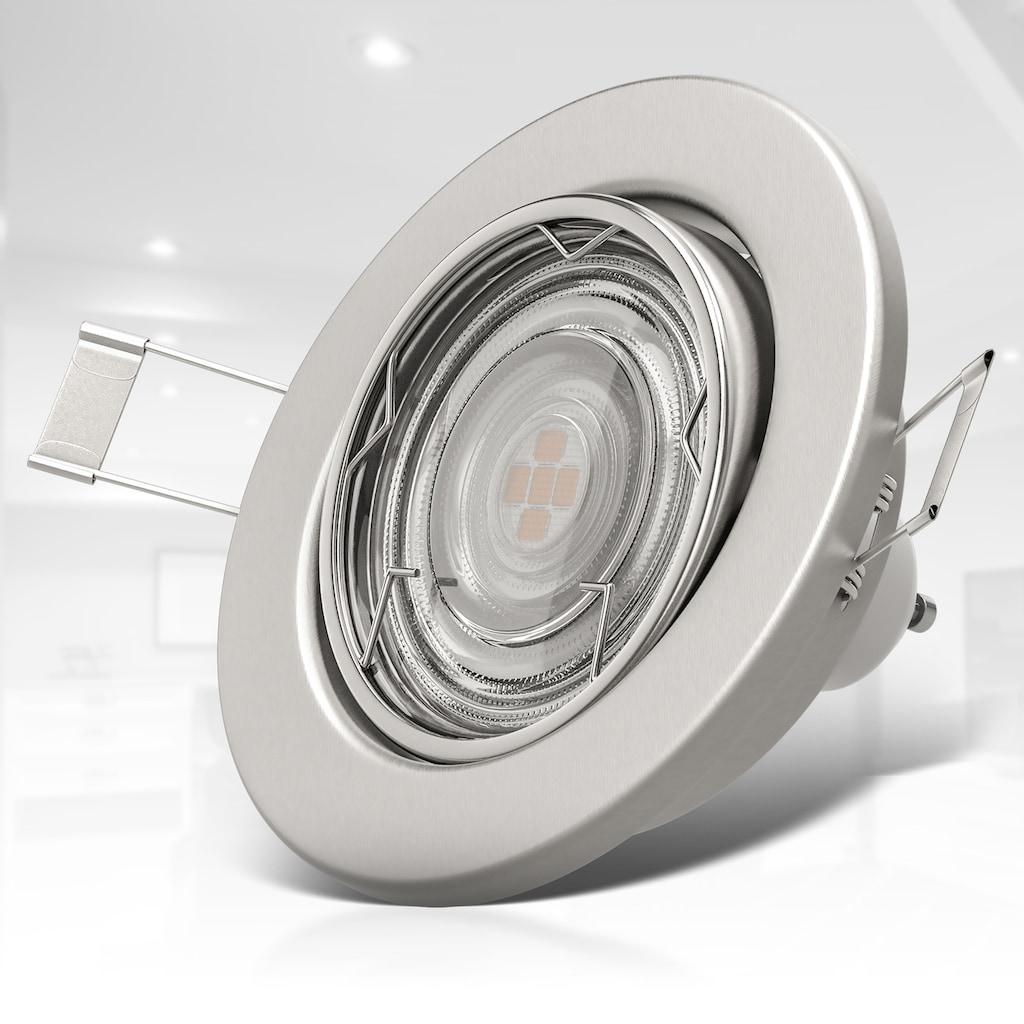 B.K.Licht LED Einbauleuchte, GU10, Warmweiß, LED Einbaustrahler 3-stufig dimmbar inkl. 6 x 5W GU10 Leuchtmittel Einbauspots schwengbar warmweiße Lichtfarbe 400lm IP23 Matt Nickel
