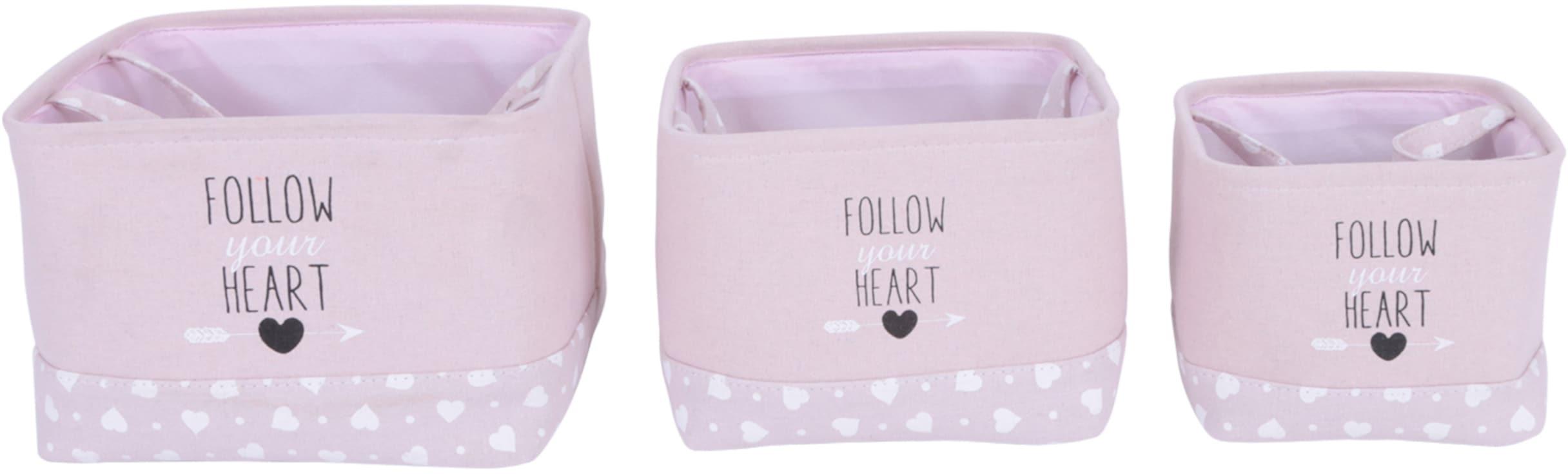 Franz Müller Flechtwaren Aufbewahrungsbox Follow your Heart, (Set, 3 St.), quadratisch rosa Kleideraufbewahrung Aufbewahrung Ordnung Wohnaccessoires