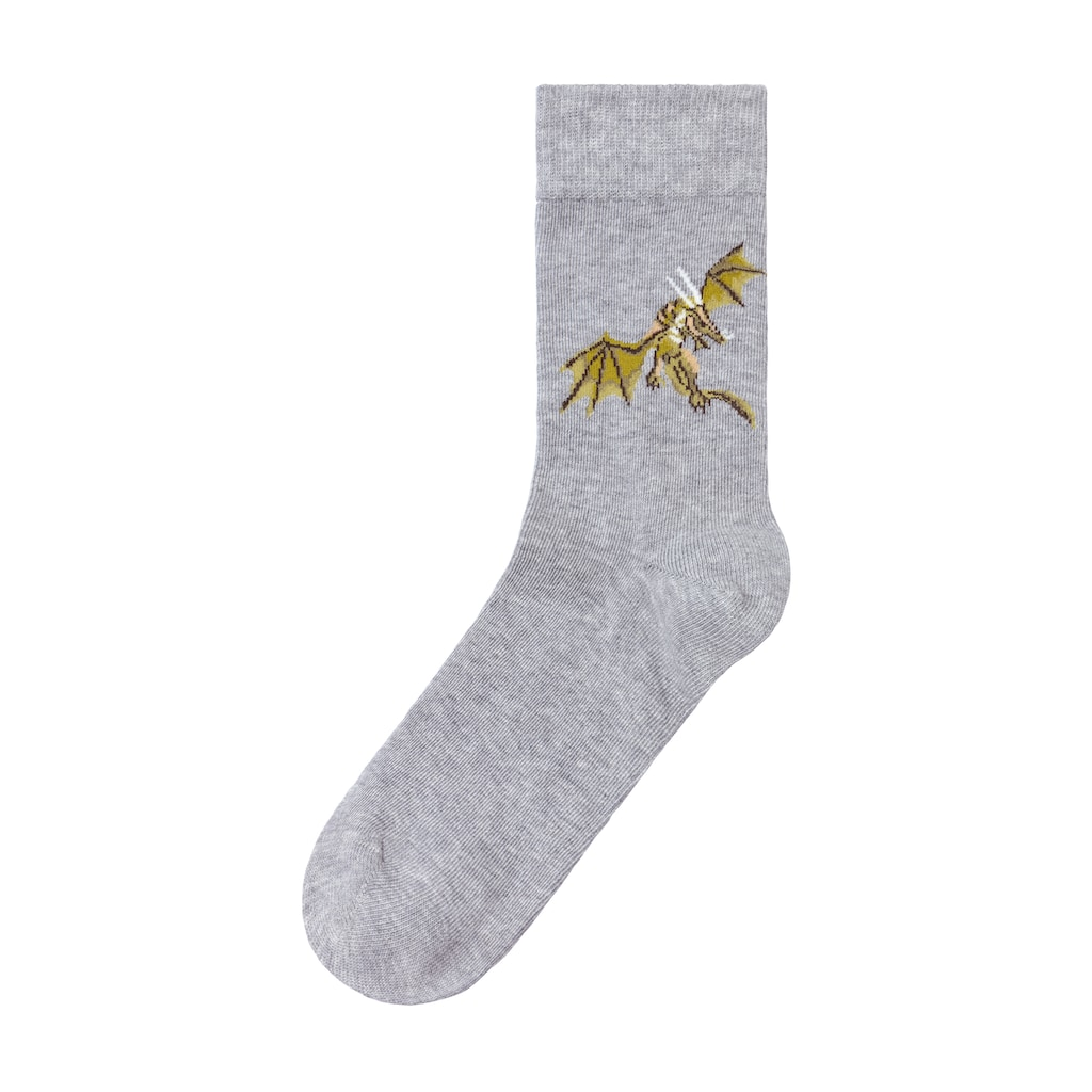 H.I.S Socken, (5 Paar), mit unterschiedlichen Drachen Motiven