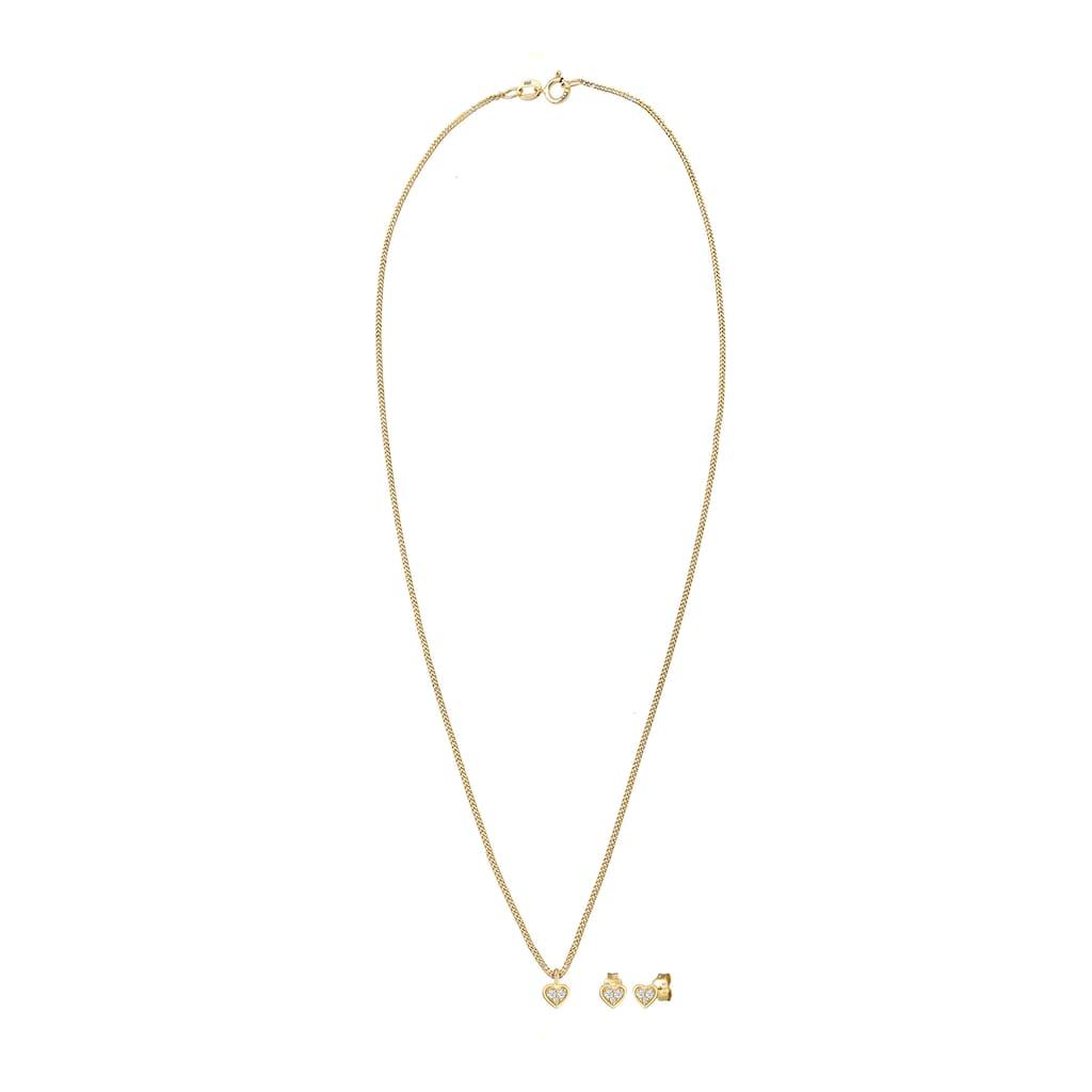 Diamore Schmuckset »Herz Liebe Valentin Diamant (0.13 ct) 585 Gelbgold«