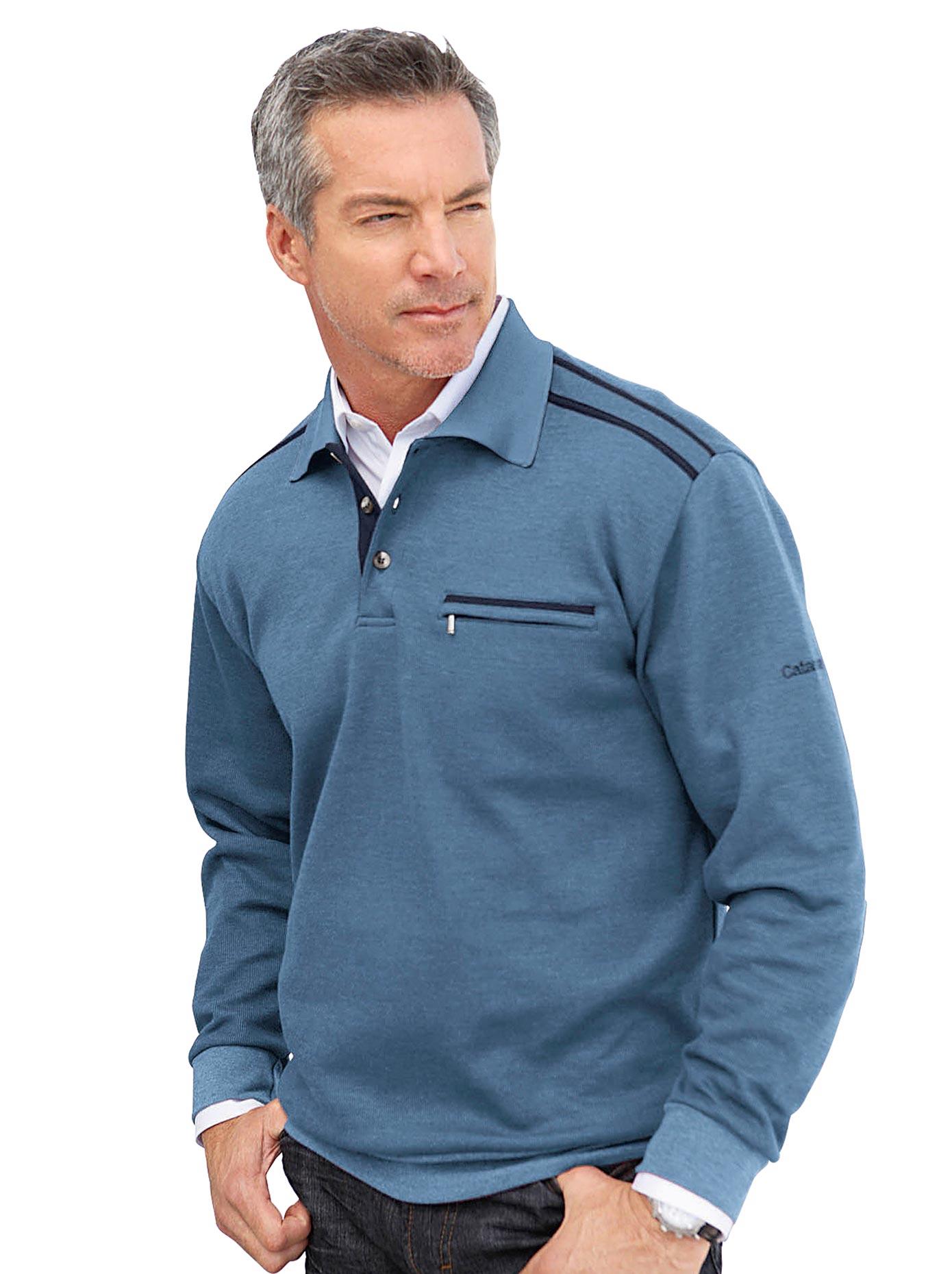 Catamaran Sweatshirt mit Knopfleiste | Bekleidung > Sweatshirts & -jacken > Sweatshirts | Blau | Baumwolle | CATAMARAN