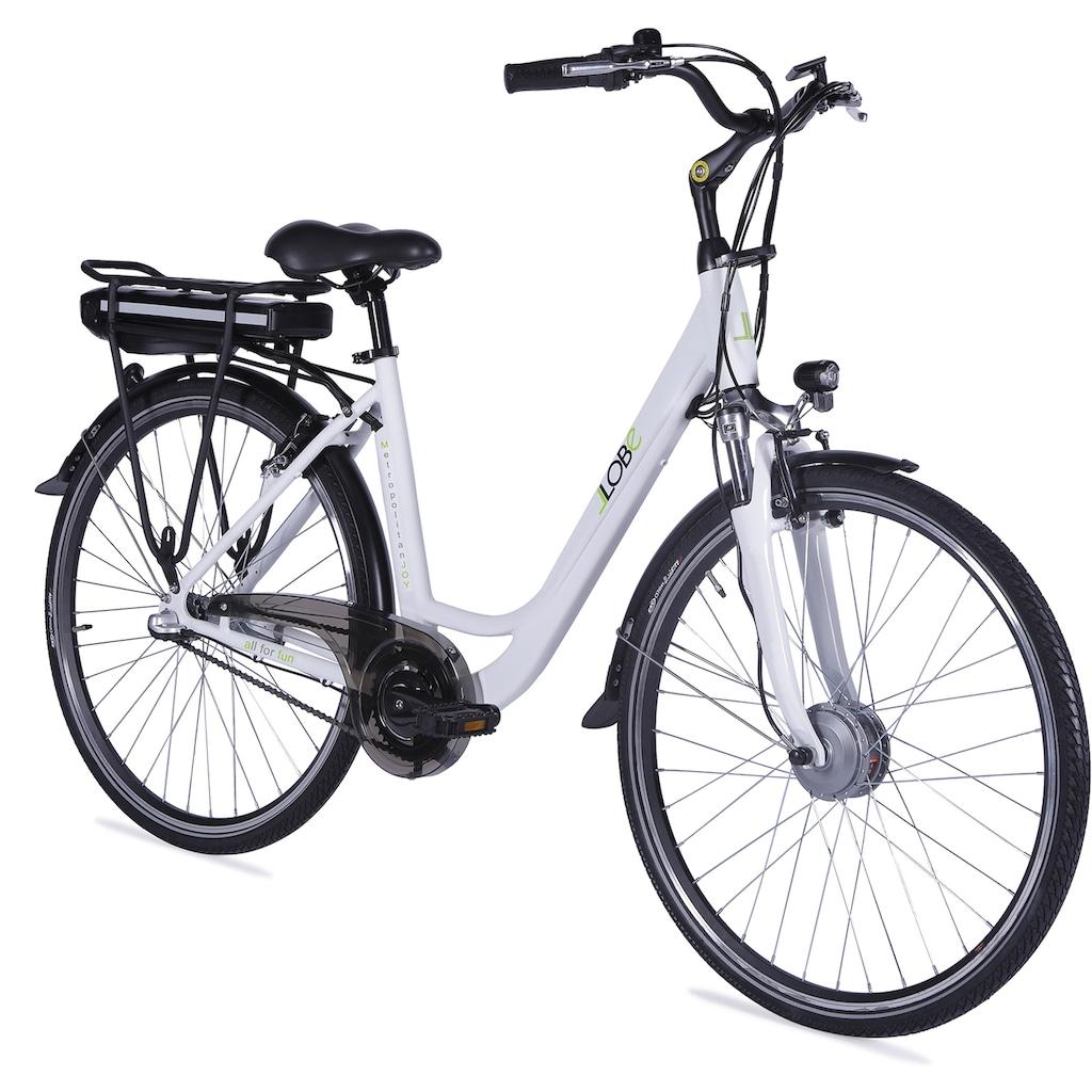 LLobe E-Bike »Metropolitan JOY weiß 13 Ah«, 3 Gang, Frontmotor 250 W
