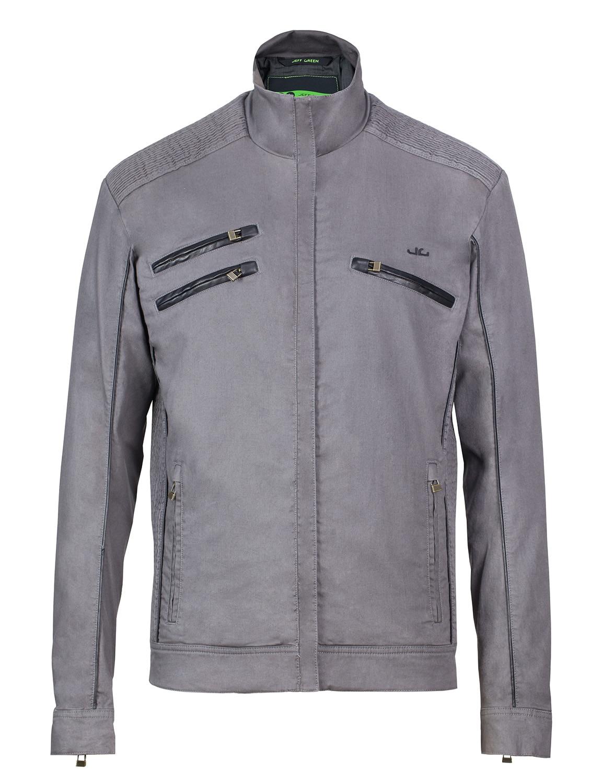 Jeff Green Bikerjacke Chris | Bekleidung > Jacken > Bikerjacken | Grau | Baumwolle - Elastan | Jeff Green