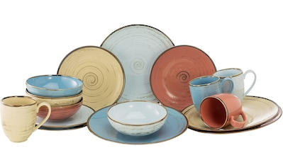 CreaTable Kombiservice »Cottage Brush«, (Set, 16 tlg.), 4 Farben im Set kaufen