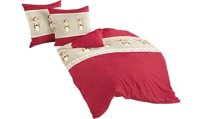 BIERBAUM Bettwäsche »Red Deer«, mit Rehen und Schriftzügen kaufen