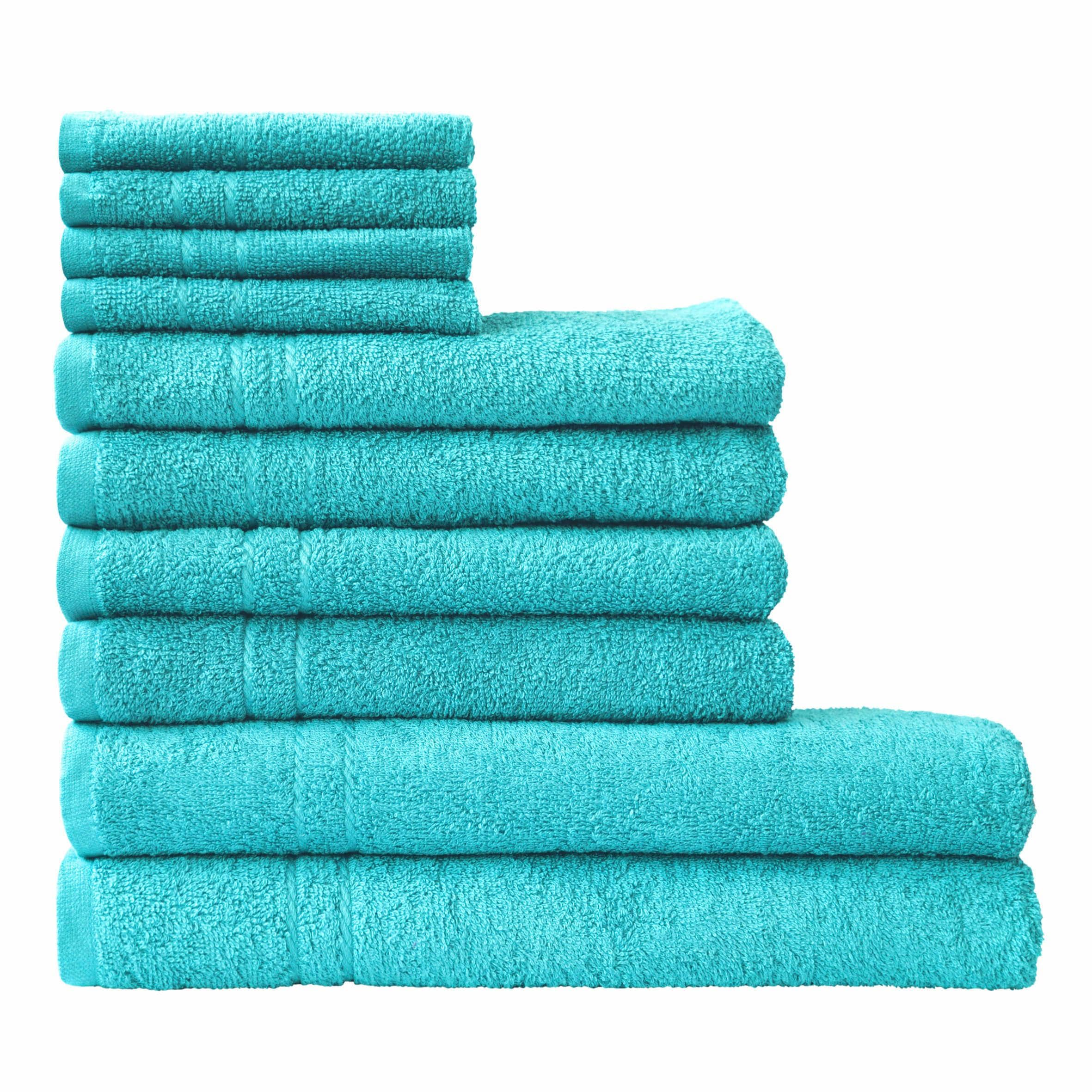 Dyckhoff Handtuch Set Kristall, mit feiner Bordüre blau Handtuch-Sets Handtücher Badetücher