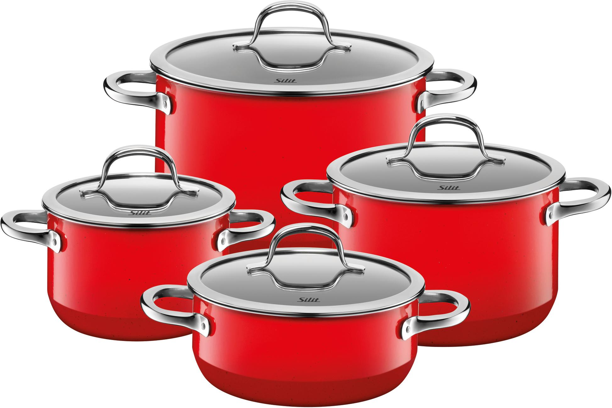 Silit Topf-Set Passion Red, Silargan, (Set, 8 tlg.), Induktion, Glasdeckel rot Topfsets Töpfe Haushaltswaren Topf