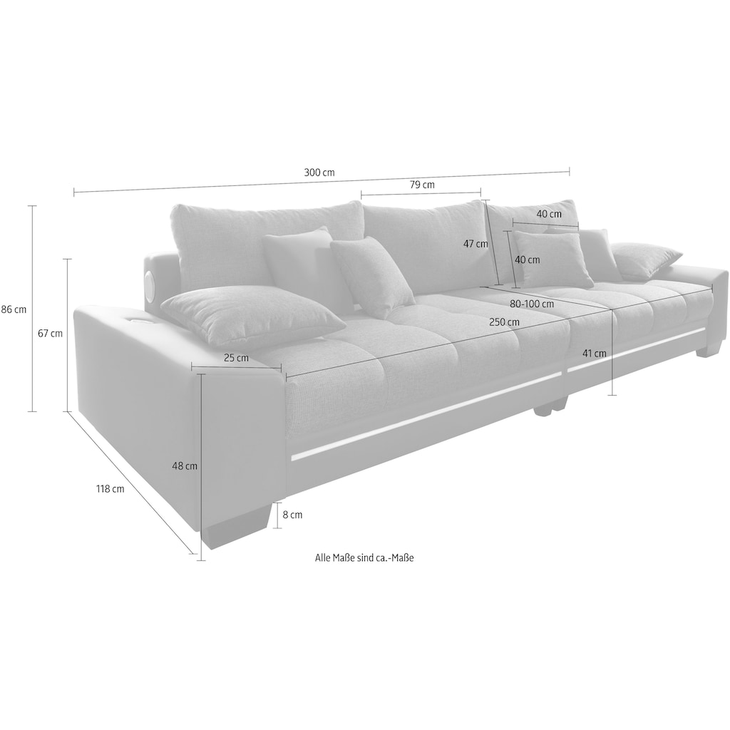 Nova Via Big-Sofa, wahlweise mit Kaltschaum (140kg Belastung/Sitz), mit RGB-LED-Beleuchtung und Bluetooth-Soundsystem